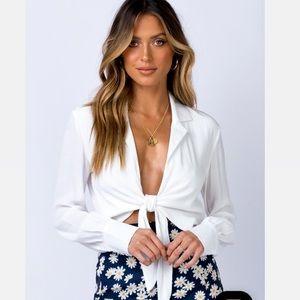 White blouse crop tie